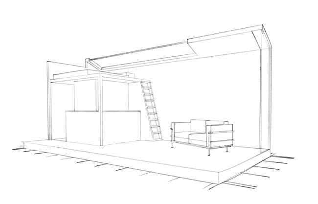 Dessin d'architecte de la mini-maison ©Cabin Spacey